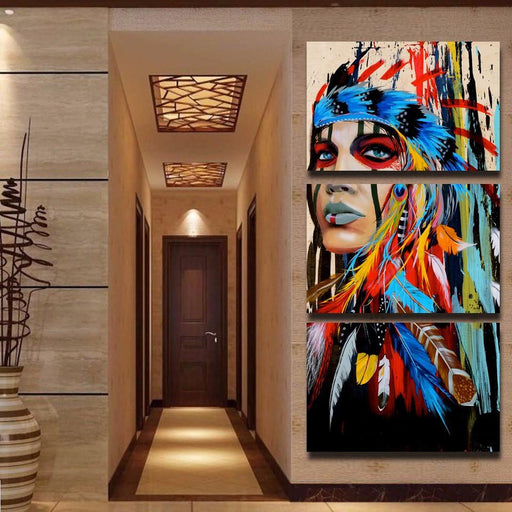 3 Panel Feathered Native American Indian Girl Canvas Painting | OctoTreasure