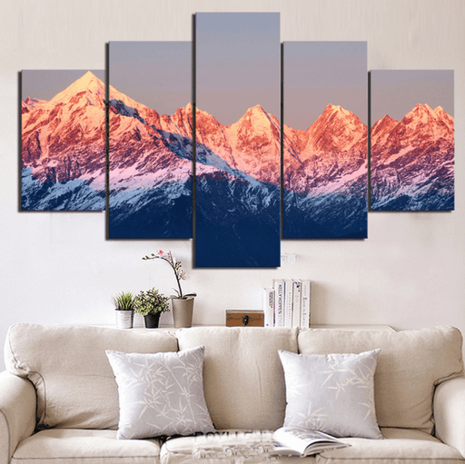5 Panel Framed Sunset Mountain Landscape Wall Canvas Art | Octo Treasure