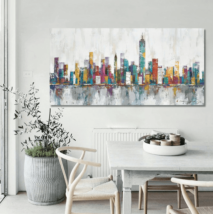1 Panel Abstract New York City Skyline Unframed Modern Wall Canvas | Octo Treasure
