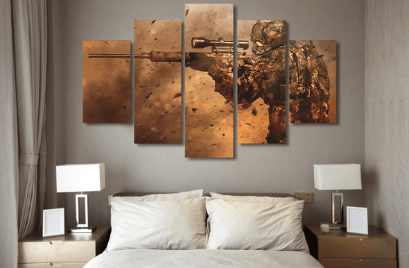 5 Panel Modern Combat Sniper Shooting Framed Wall Canvas Art | Octo Treasure