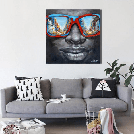 1 Panel Man With Retro Sunglasses Unframed Modern Wall Canvas | Octo Treasure