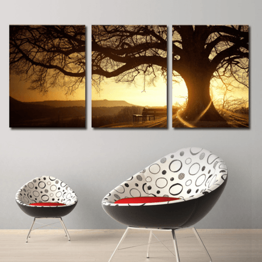 3 Panel Sunset Over Oak Tree Nature Scenery Framed Wall Canvas | Octo Treasure