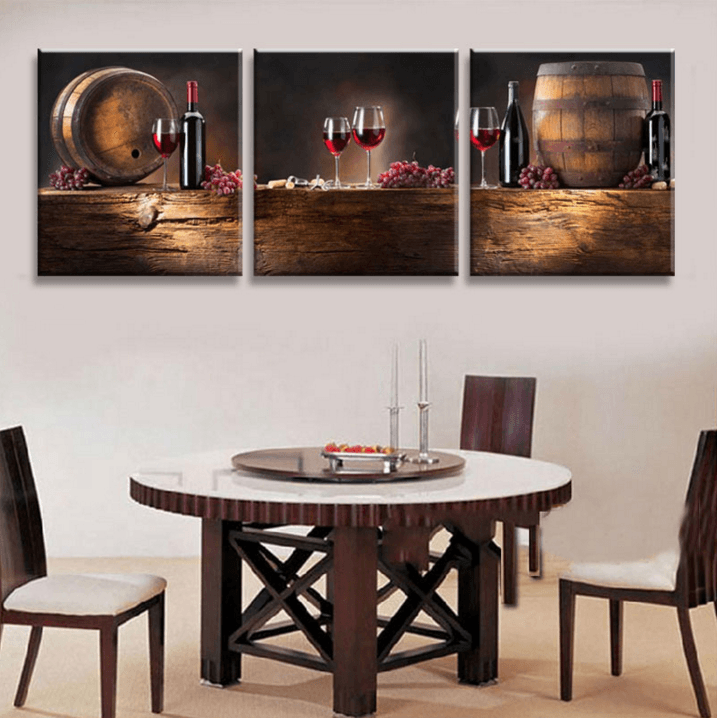 Octo treasures multi panel framed modern wine and dine for Wine and dine wall art