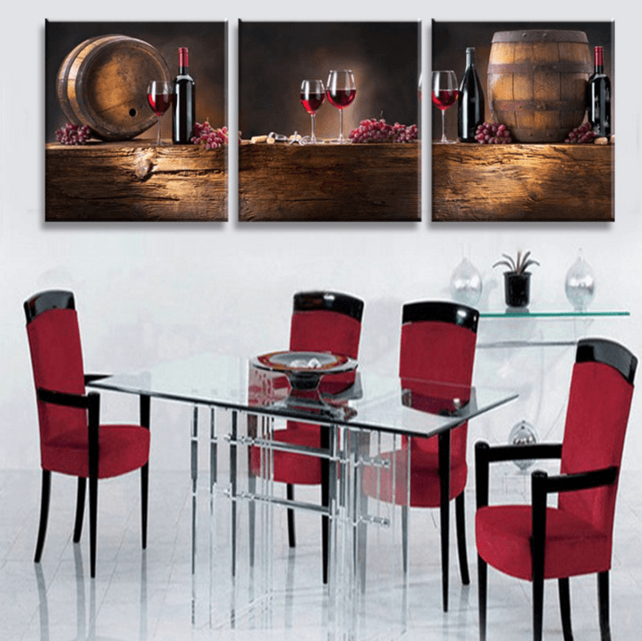 3 Pieces Multi Panel Modern Home Decor Framed Wine And Dine Wall Canvas Art | Octo Treasure