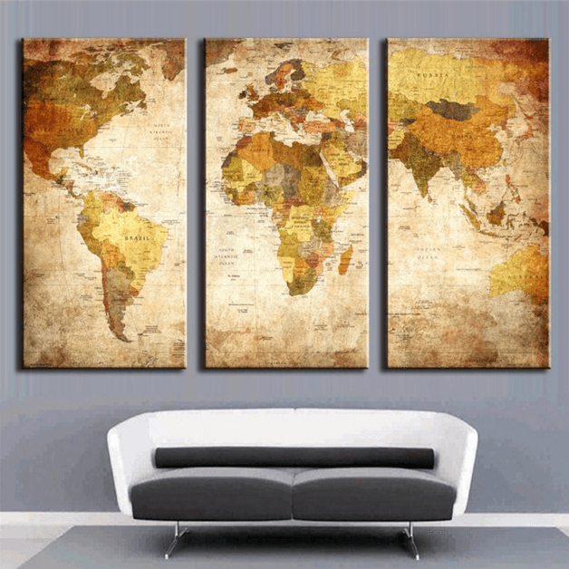 3 Pieces Multi Panel Modern Home Decor Framed Retro World Map Wall Canvas Art | Octo Treasure
