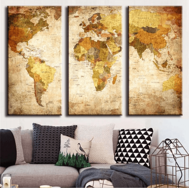 3 panel retro world map canvas wall art octotreasure 3 pieces multi panel modern home decor framed retro world map wall canvas art octo gumiabroncs Gallery