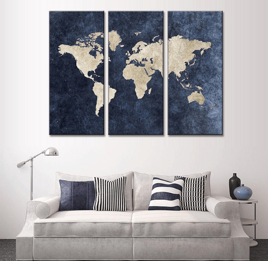 3 Panel Framed Modern Blue World Map Canvas Art | Octo Treasure