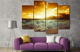 4 Panel Framed Golden Sunset Beach Wave Wall Canvas Art | Octo Treasure