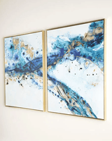 """Azure Canyon"" Giclees 2 Panel Framed Wall Canvas Painting 