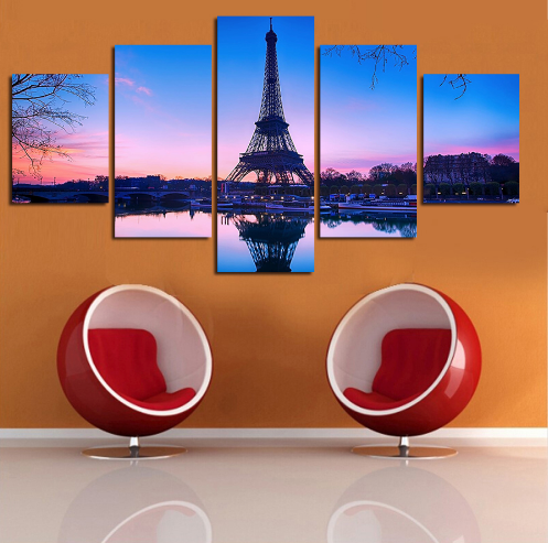 "5 Panel ""I Could Fly"" Eiffel Tower Canvas Painting"