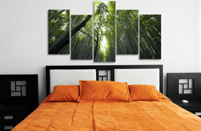 Framed Bamboo Forest Landscape Wall Canvas Art | Octo Treasure