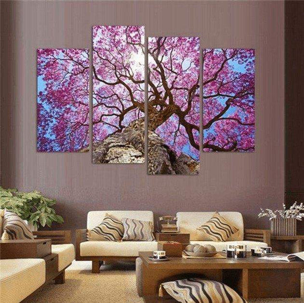 Cherry Blossom Painting 4 Panel Wall Canvas | Octo Treasure