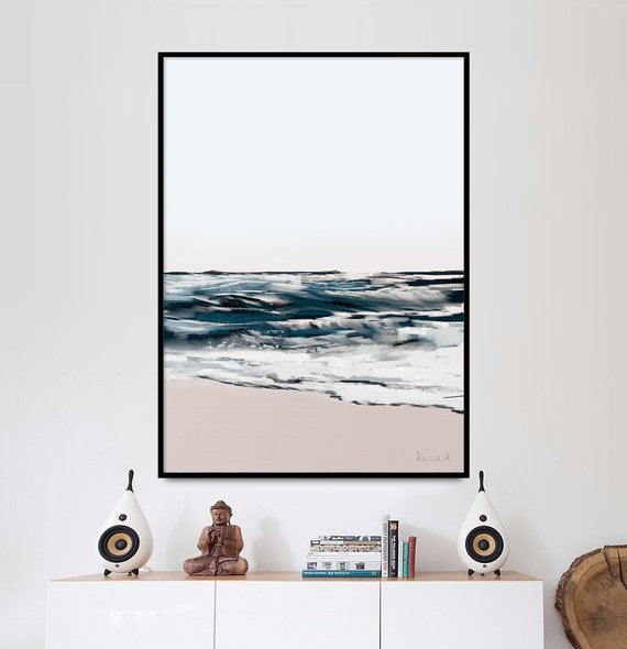 Printable Abstract Art, Seascape Painting, Digital Download, Abstract Seascape Large wall art, Ocean Art, Ocean Print, A1 art, Navy blue art