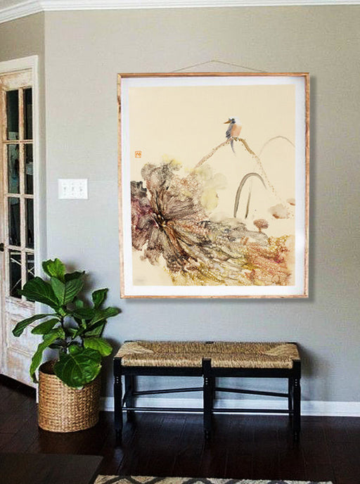 Original Chinese Lotus Oil Painting