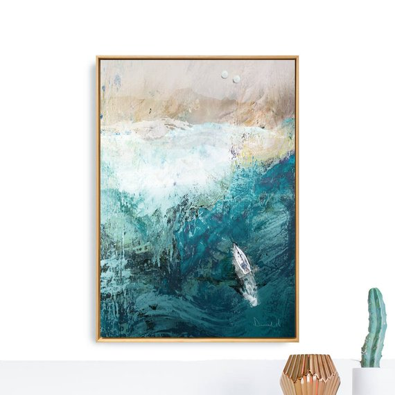 Printable Abstract Art, Seascape Painting, Large Wall Art, Beach Painting, Abstract Seascape, Beach Print, Ocean Print, A2 art Navy blue art