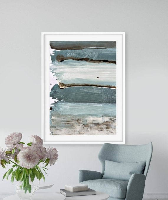 Printable Abstract Art, Abstract Seascape Painting, Digital Download, 24x36 Print, Large wall art, Blue and gray art, Ocean Print, A1 art