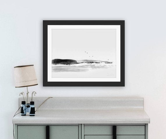 "Beach Painting,""Sea Rock"" Minimal Art, Printable Art Prints, Living Room Decor, digital download art, nature art, minimal wall art prints"