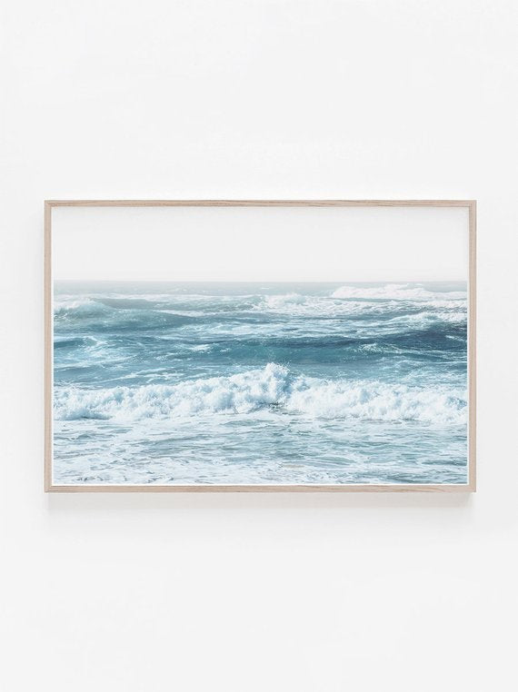 Horizontal Wall Art,Beach,Poster,Ocean Print,Water Print,Blue Wall Art,Ocean Art Print,Beach Print,Waves Print,Ocean Wall Art,Large Wall Art