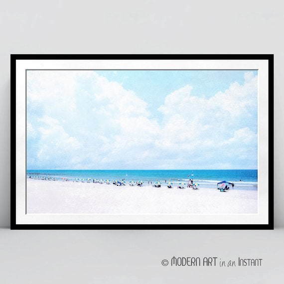 Clouds Beach Painting Beach PRINTABLE Art Beach Print Coastal Print Photo Print-Coastal Decor Beach Wall Art DIGITAL DOWNLOAD Coastal Art