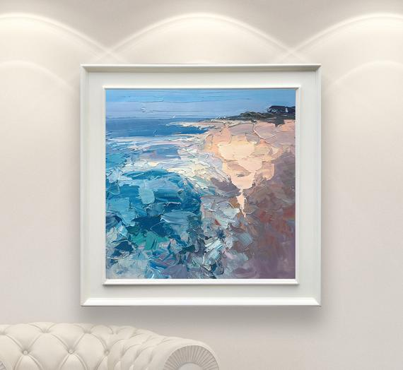 Beach Painting, Oil Painting, Abstract Painting, Large Beach Art Canvas, Seascape Painting, Coastal Painting, Beach Art Framed, Beach House