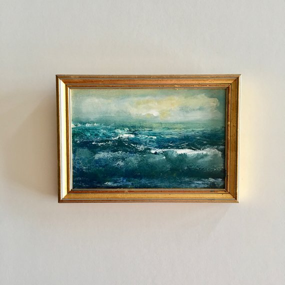 Small Ocean Painting- 5-3/4 x 8-1/4 inches including Frame- Gold Frame- Impressionistic Painting- Beach Painting