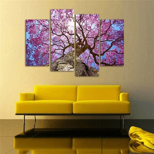 4 Panel Cherry Blossom Canvas Spray Painting | OctoTreasure