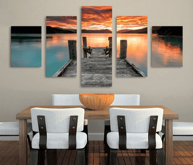 5 Panel Lake Sunset Landscape Framed Wall Canvas Art | Octo Treasure