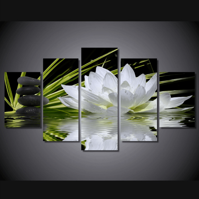 5 Panel White Lotus Flower Framed Wall Canvas | Octo Treasure
