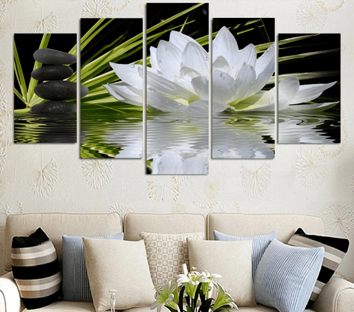 5 Panel White Lotus Flower Canvas Wall Art Octotreasure