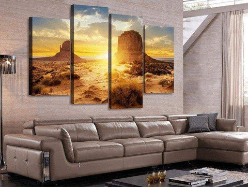 4 Panel Framed Desert Modern Landscape Wall Canvas Art | Octo Treasure
