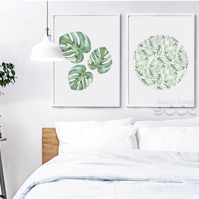 Watercolor Tropical Leaf Canvas Art Print Poster,  Wall Pictures for Home Decoration, Giclee Wall Decor CM011-2&3 | Octo Treasure