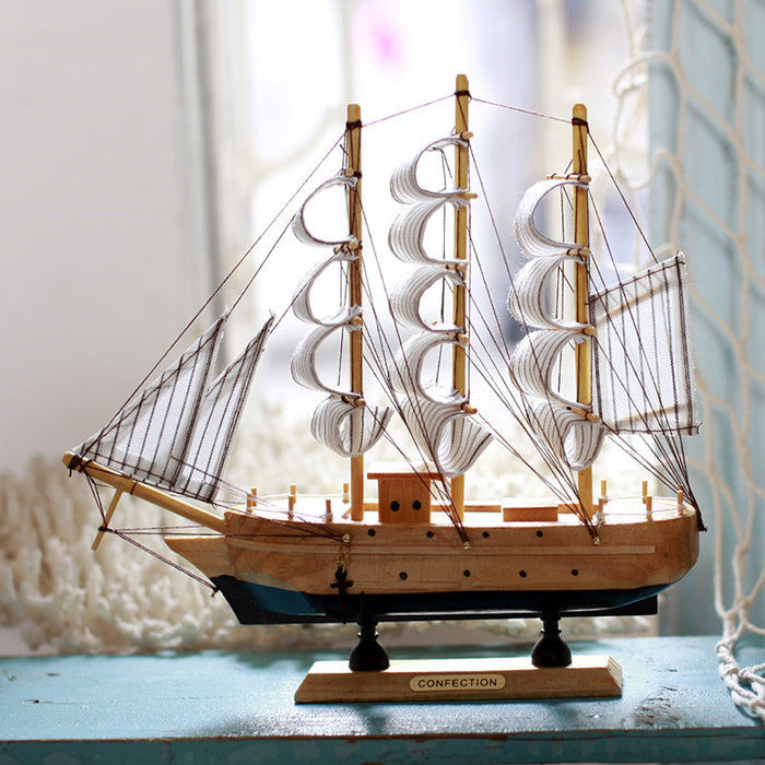 Mediterranean Style Handmade Carved Sailing Boat Nautical Decor
