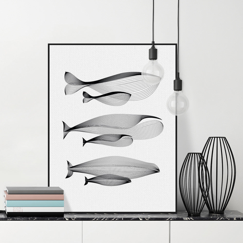 Modern Minimalist Black White Abstract Animals Whale Family Canvas Large A4 Poster Print Nordic Wall Art Home Decor Painting | Octo Treasure