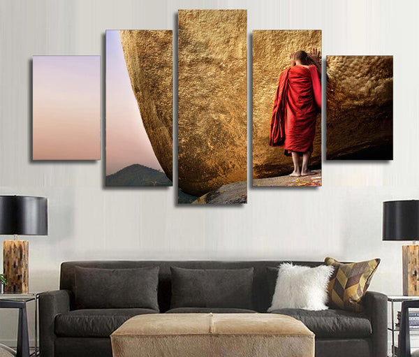 "5 Panel Framed ""Humble Monk"" Canvas Painting 