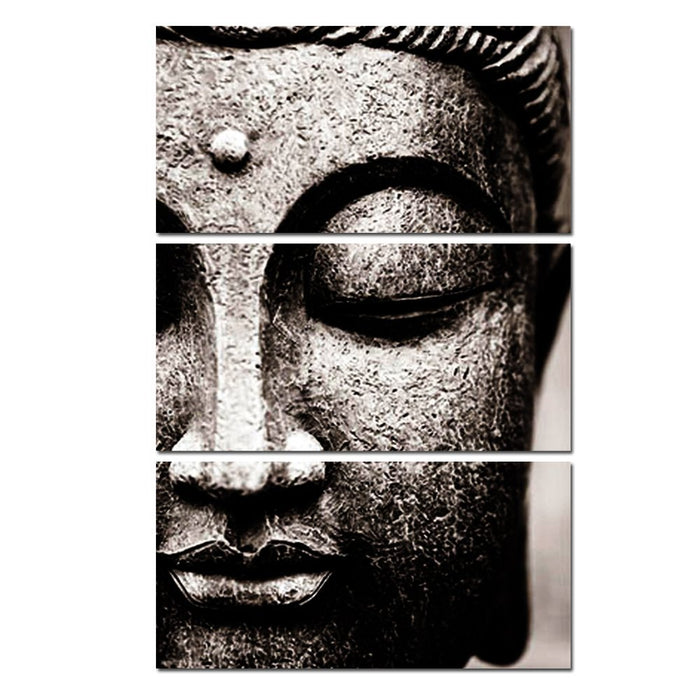 "3 Panel ""Gray Buddha"" Canvas Spray Painting"