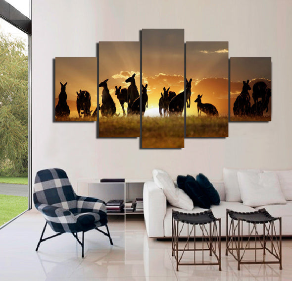 Kangaroos in Sunset Canvas Wall Art | Octo Treasure