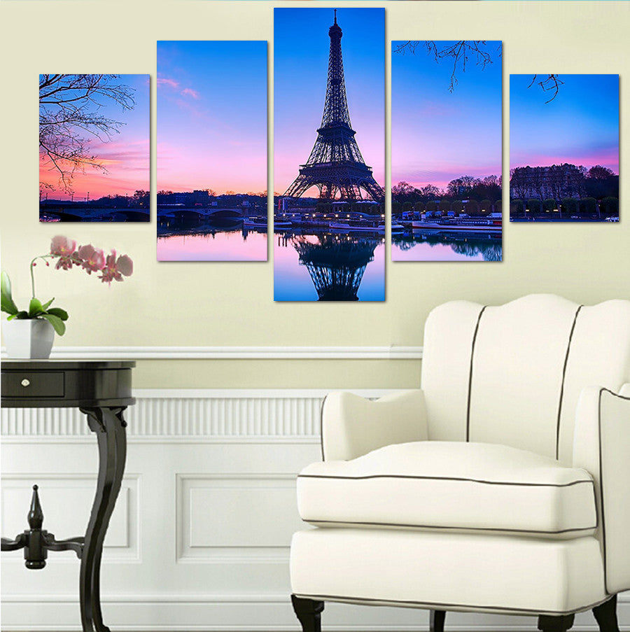 5 Pieces/set Painting On The Wall Canvas Printed Painting Paris Eiffel Tower Picture For Home Decoration Wall Art Pictures | Octo Treasure