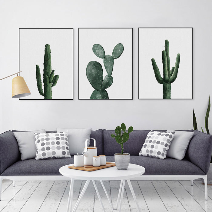 Nordic Modern Floral Watercolor Green Cactus Canvas Big A4 Art Print Poster Cottage Wall Pictures Home Decor Painting No Frame | Octo Treasure