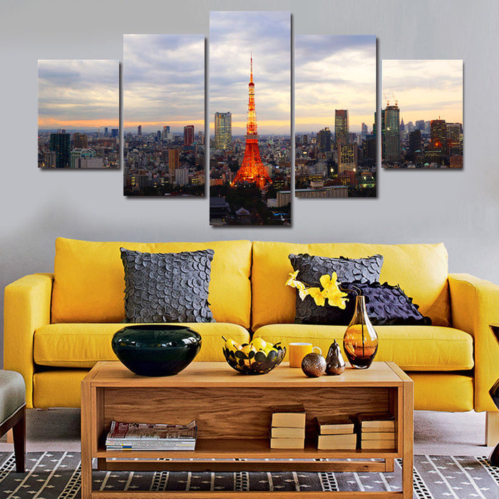 5 Panel Framed Japan Tokyo Tower Canvas Painting | Octo Treasure