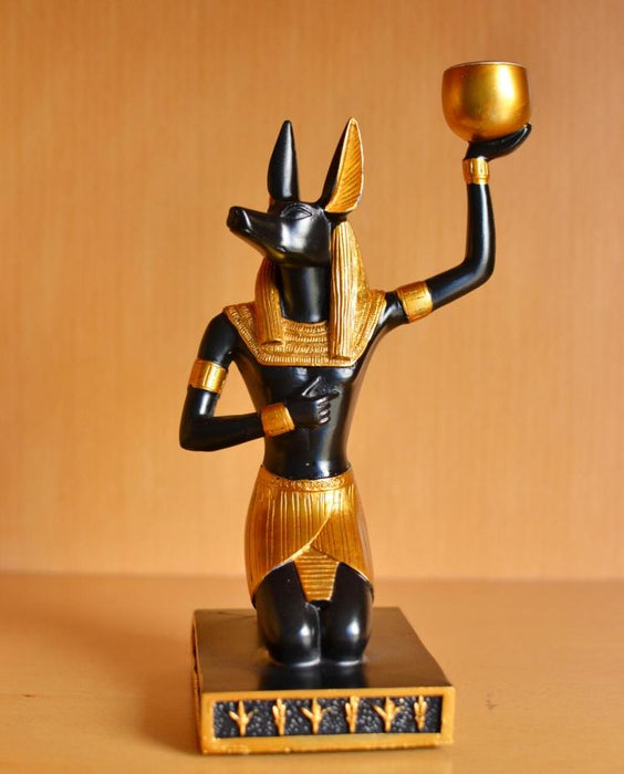 Living Room Egyptian Style Decoration Dog God Anubis Desktop Creative Candle Holder Home Ornament Gift  Decorations