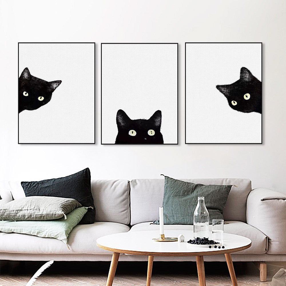 Watercolor Minimalist Kawaii Animals Black Cats Head Canvas A4 Art Print Poster Nordic Wall Picture Home Decor Painting No Frame | Octo Treasure