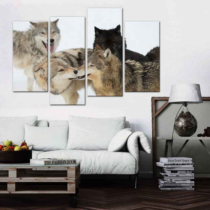 4 Pcs/Set Large Animals Black Gray Snow Wolf Canvas Print Painting Modern Wolves Wall Art Picture Living Room Decor | Octo Treasure