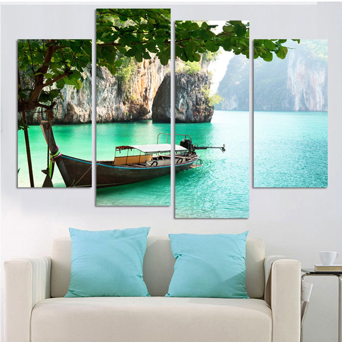 4 Panel Framed Tropical Paradise Canvas Painting | Octo Treasure