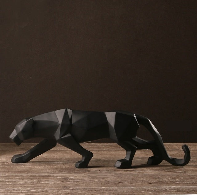 Modern Geometric Black Panther Resin Sculpture Wildlife Decor