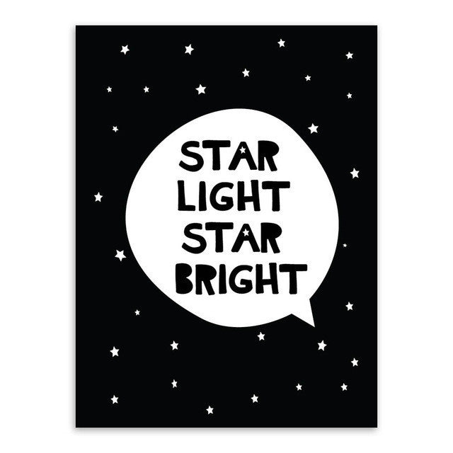 Modern Black White Nordic Kawaii Star Quotes Art Print Poster Wall Picture Nursery Canvas Painting No Frame Baby Room Decoration | Octo Treasure