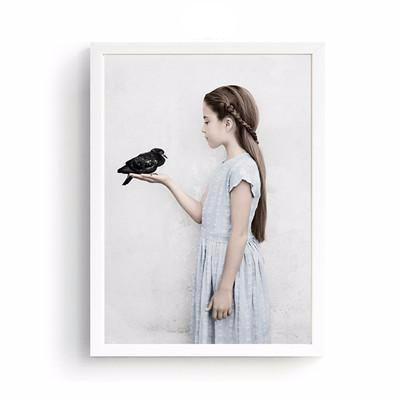 Wall Pictures For Living Room Cuadros Nordic Decoration Bird Girl New Wall Art Canvas Painting Cuadros Picture No Poster Frame | Octo Treasure