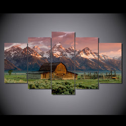 5 Panel Barn Rocky Mountains Landscape Framed Wall Canvas Art | Octo Treasure