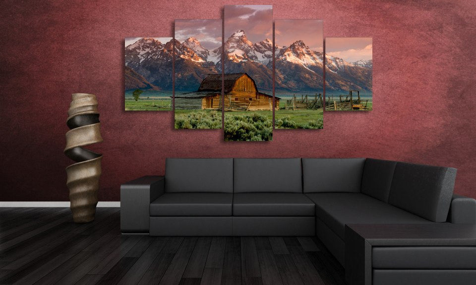 5 Panel Framed Rocky Mountain Canvas Wall Art | Octo Treasure