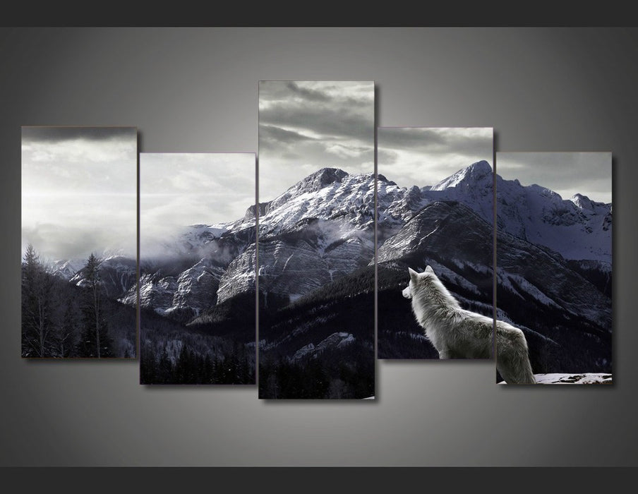 5 Panel Snow Mountain Gray Wolf Framed Wall Canvas Art | Octo Treasure