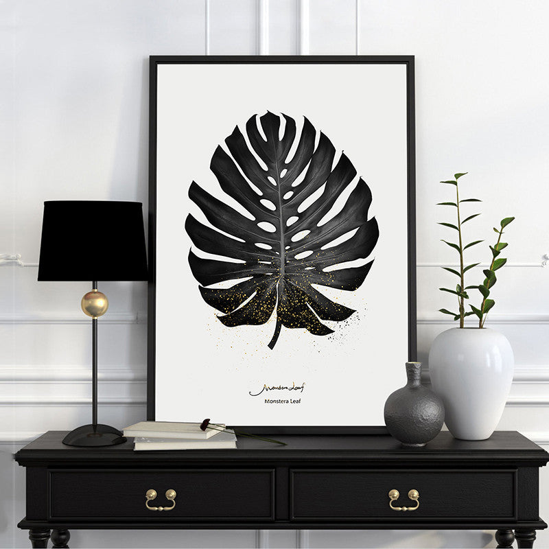 modern nordic poster  painting Black and white plant photography 3 piece canvas wall art prints for living room home decoration | Octo Treasure